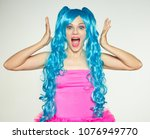 Girl Doll With Blue Hair With...