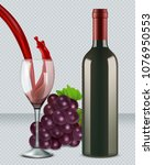 bottle of red wine with glass... | Shutterstock .eps vector #1076950553