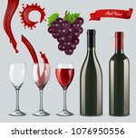 set of red wine. glasses ... | Shutterstock .eps vector #1076950556