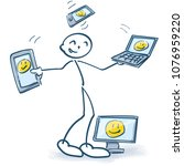 stick figure with computers... | Shutterstock .eps vector #1076959220