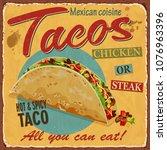 vintage tacos  metal sign. | Shutterstock .eps vector #1076963396