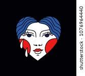 face in heart illustration... | Shutterstock .eps vector #1076964440