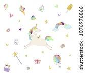 vector illustration of unicorn... | Shutterstock .eps vector #1076976866