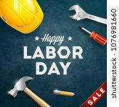 happy labor day banner. 1st may.... | Shutterstock .eps vector #1076981660