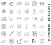 weather icons set. outline... | Shutterstock . vector #1076981936