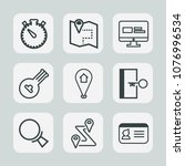 premium set of outline icons.... | Shutterstock .eps vector #1076996534