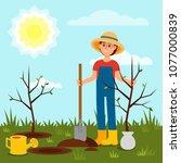 cheerful girl planting tree.... | Shutterstock .eps vector #1077000839