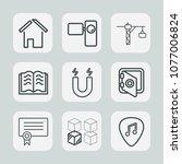premium set of outline icons.... | Shutterstock .eps vector #1077006824