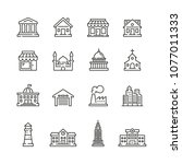 buildings icons  thin vector... | Shutterstock .eps vector #1077011333
