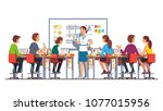 smiling teacher woman giving... | Shutterstock .eps vector #1077015956