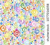 seamless pattern. multi vitamin ... | Shutterstock . vector #1077016058