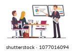 business coach giving lecture... | Shutterstock .eps vector #1077016094
