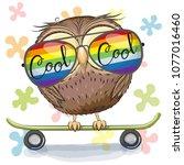 cool cartoon cute owl with sun... | Shutterstock .eps vector #1077016460