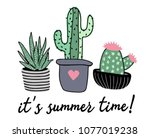 funny cactus illustration with... | Shutterstock .eps vector #1077019238