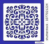 ornamental square stencil.... | Shutterstock .eps vector #1077021224