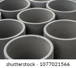gray concrete round shapes... | Shutterstock . vector #1077021566