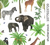 Safari Background Watercolor Painting Seamless - Fine Art prints