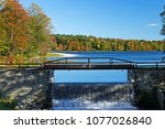 Autumn Waterfall at Bridge over Promise Land Lake in Northeastern Pennsylvania