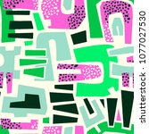 urban seamless funky collage... | Shutterstock .eps vector #1077027530