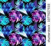 seamless summer tropical... | Shutterstock .eps vector #1077027533