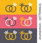 icon wedding rings with crown... | Shutterstock .eps vector #1077040616