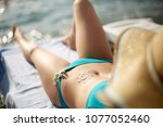 sunscreen lotion drawn on... | Shutterstock . vector #1077052460
