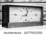 old rectangular clock on the... | Shutterstock . vector #1077052550