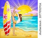 vector pop art surfing girl... | Shutterstock .eps vector #1077052916