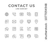 set line icons of contact us | Shutterstock .eps vector #1077054548