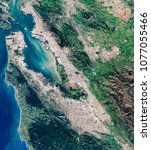 High resolution satellite image of Silicon Valley, San Francisco, Oakland and San Jose from above, aerial view, overview background map, contains modified Copernicus Sentinel data [2018]
