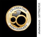50 years anniversary emblem.... | Shutterstock .eps vector #1077061910