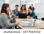 group of young students or... | Shutterstock . vector #1077065510
