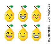 set of cute smiley pixel pears. ... | Shutterstock .eps vector #1077069293