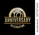 100 years anniversary emblem....   Shutterstock .eps vector #1077071414