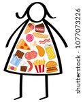 simple overweight stick figure...   Shutterstock .eps vector #1077073226
