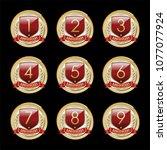 set of  anniversary emblems....   Shutterstock .eps vector #1077077924