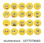 vector emoticons emoji set....   Shutterstock .eps vector #1077078683