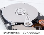 open computer hard disk drive ... | Shutterstock . vector #1077080624