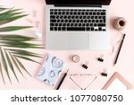 home office desk with laptop ...   Shutterstock . vector #1077080750