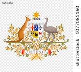 emblem of australia. national... | Shutterstock .eps vector #1077085160