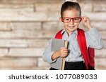 cute little schoolgirl in... | Shutterstock . vector #1077089033