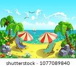 vector illustration. a resort... | Shutterstock .eps vector #1077089840