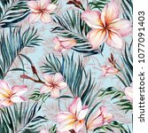 pink plumeria flowers and... | Shutterstock . vector #1077091403