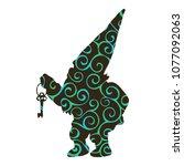 dwarf pattern silhouette tale... | Shutterstock .eps vector #1077092063