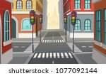 vector city crossroads with... | Shutterstock .eps vector #1077092144