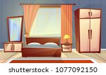 vector cartoon interior of cozy ... | Shutterstock .eps vector #1077092150