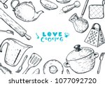 love cooking illustration.... | Shutterstock .eps vector #1077092720
