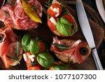 italian antipasti wine snacks... | Shutterstock . vector #1077107300