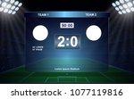 football scoreboard broadcast... | Shutterstock .eps vector #1077119816