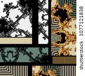 golden baroque ornament | Shutterstock . vector #1077121838